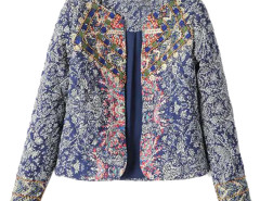 Multicolor Folk Pattern Beaded Long Sleeve Coat Choies.com online fashion store United Kingdom Europe