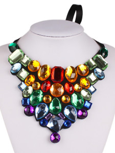 Multicolor Gemstone Tie Choker Necklace Choies.com online fashion store United Kingdom Europe