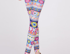 Multicolor Geo Pattern High Waist Leggings Choies.com online fashion store United Kingdom Europe