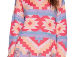 Multicolor Geo Pattern Ripped Long Sleeve Knit Sweater Choies.com online fashion store United Kingdom Europe