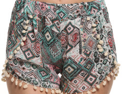 Multicolor Geo Print Elastic Waist Pom Pom Shorts Choies.com online fashion store United Kingdom Europe