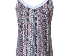 Multicolor Geometry Print Lace Detail Ruched Vest Choies.com online fashion store United Kingdom Europe