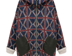 Multicolor Hooded Union Flag Print Drawstring Back Loose Coat Choies.com online fashion store United Kingdom Europe