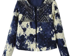 Multicolor Ink Painting Sequin Open Front Quilted Jacket Choies.com online fashion store United Kingdom Europe