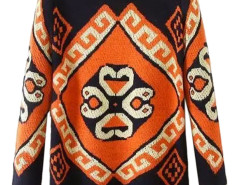 Multicolor Jacquard Round Neck Long Sleeve Sweater Choies.com online fashion store United Kingdom Europe