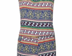 Multicolor Mixed Folk Print Cami And Shorts Choies.com online fashion store United Kingdom Europe