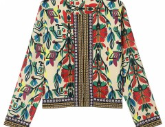 Multicolor Mixed Folk Print Long Sleeve Blouse Choies.com online fashion store United Kingdom Europe