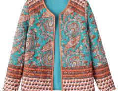Multicolor Paisley Pattern Long Sleeve Short Coat Choies.com online fashion store United Kingdom Europe