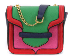 Multicolor Panel Geo Pattern Chain Cross Body Bag Choies.com online fashion store United Kingdom Europe