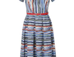 Multicolor Stripe Painting Belt Pleat Midi Dress Choies.com online fashion store United Kingdom Europe
