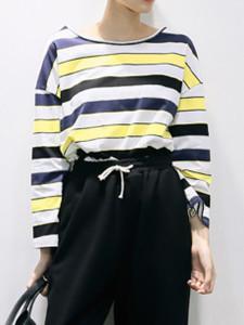 Multicolor Stripe Print Long Sleeve T-shirt Choies.com online fashion store United Kingdom Europe