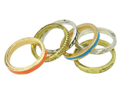 Multicolor Textured Ring Pack Choies.com online fashion store United Kingdom Europe