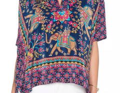 Multicolor V-neck Folk Pattern Batwing Sleeve Side Slit Blouse Choies.com online fashion store United Kingdom Europe
