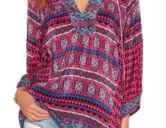 Multicolor V-neck Folk Pattern Tie Front Long Sleeve Blouse Choies.com online fashion store United Kingdom Europe
