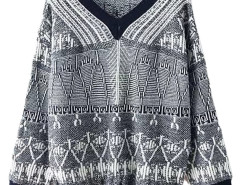 Multicolor V-neck Geo Jacquard Long Sleeve Sweater Choies.com online fashion store United Kingdom Europe
