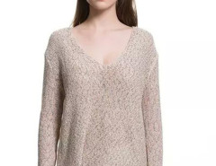 Multicolor V-neck Long Sleeve Knitted Sweater Choies.com online fashion store United Kingdom Europe