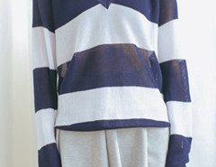 Navy And White Color Block V Neck Long Sleeve Jumper Choies.com online fashion store United Kingdom Europe