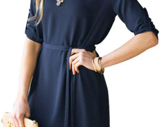 Navy Belt Waist Roll Up Sleeve Plain Dress Choies.com online fashion store United Kingdom Europe