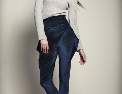Navy Blue Velvet Pants - Suele Azul Carnet de Mode online fashion store Europe France
