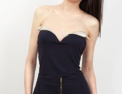 Navy Blue Viscose Bustier Cézanne Carnet de Mode online fashion store Europe France