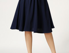Navy Bowknot High Waist Skater Skirt Choies.com online fashion store United Kingdom Europe