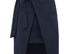 Navy Bowtie Waist Asymmetric Wrap Skirt Choies.com online fashion store United Kingdom Europe