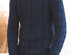 Navy Cable Knit Ribbed Jumper Choies.com online fashion store United Kingdom Europe