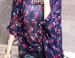 Navy Cherry Print Batwing Sleeve Chiffon Blouse Choies.com online fashion store United Kingdom Europe
