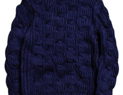 Navy Chunky Knit Pattern Ribbed Jumper Choies.com online fashion store United Kingdom Europe