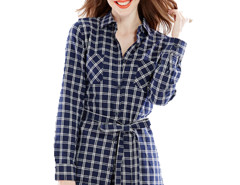 Navy Contrast Plaid Print Belt Waist Longline Shirt Choies.com online fashion store United Kingdom Europe