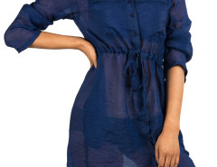 Navy Drawstring Waist Long Sleeve Shirt Dress Choies.com online fashion store United Kingdom Europe