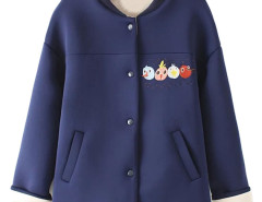 Navy Embroidery Cartoon Pattern Long Sleeve Button Up Coat Choies.com online fashion store United Kingdom Europe