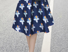Navy High Waist Floral Midi A-line Skirt Choies.com online fashion store United Kingdom Europe