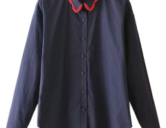 Navy Lace Collar Long Sleeve Hi-lo Shirt Choies.com online fashion store United Kingdom Europe