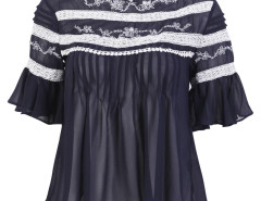Navy Lace Crochet Panel Keyhole Ruched Chiffon Blouse Choies.com online fashion store United Kingdom Europe