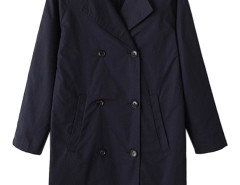 Navy Lapel Double Breasted Trench Coat Choies.com online fashion store United Kingdom Europe