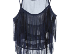 Navy Layer Tassel Transparent Cami Crop Vest Choies.com online fashion store United Kingdom Europe