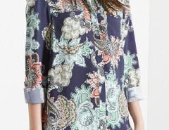Navy Paisley Pattern Long Sleeve Shirt Choies.com online fashion store United Kingdom Europe