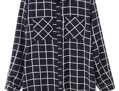 Navy Plaid Pocket Detail Long Sleeve Shirt Choies.com online fashion store United Kingdom Europe