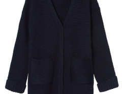 Navy Pocket Detail Long Sleeve Longline Knit Cardigan Choies.com online fashion store United Kingdom Europe