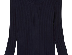 Navy Round Neck Long Sleeve Sweater Choies.com online fashion store United Kingdom Europe