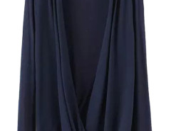 Navy Wrap Drape V-neck Long Sleeve Blouse Choies.com online fashion store United Kingdom Europe