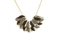 Necklace - 2 leaf rows - taupe & bengali Carnet de Mode online fashion store Europe France