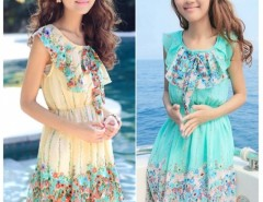 New Arrival Women Floral Summer Chiffon Dress Mini Beach Dress Princess Dress Green Beige Cndirect online fashion store China
