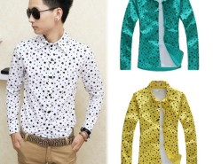 New Casual Men's Casual Slim Fit Printing Design Long Sleeve Shirts 3Colors Hot Cndirect online fashion store China