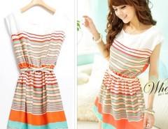 New Colorful Stripes Party Mini Dress Club wear Free Bowknot Belt Women's Dresses Cndirect online fashion store China