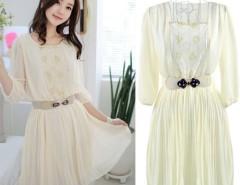 New Elegant Women's Chiffon Dress 3/4 Sleeve Lace Splicing Beige With Belt Cndirect online fashion store China