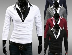 New Fashion Casual Men Long Sleeve Lapel Fake Two Piece T-Shirt 5 Colors Cndirect online fashion store China