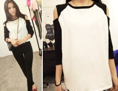 New Fashion Korean Women's Top Off Shoulder 1/2 Sleeve T-shirt Casual Wear Cndirect online fashion store China