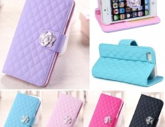 New Fashion Luxury Grid Wallet Stand Flip PU Leather Cover Case for iphone 5 5S Cndirect online fashion store China